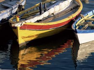 Colourful Boats Reflected in the Water of the Harbour, Sete, Herault, Languedoc-Roussillon, France by Ruth Tomlinson