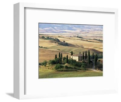 Farmhouse and Cypress Trees in the Early Morning, San Quirico d'Orcia, Tuscany, Italy