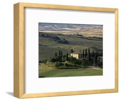Farmhouse and Cypress Tres in the Earning Morning, San Quirico d'Orcia, Tuscany, Italy