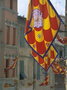 Flags and Lamps of the Chiocciola Contrada in the Via San Marco During the Palio, Siena, Italy by Ruth Tomlinson