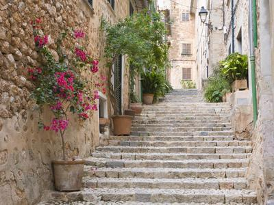Flight of Steps in the Heart of the Village Fornalutx Near Soller, Mallorca, Balearic Islands, Spai