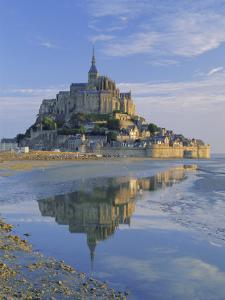 Mont St. Michel (Mont Saint-Michel) Reflected in Water, Manche, Normandy, France, Europe by Ruth Tomlinson