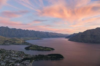 Pink clouds over Lake Wakatipu and the Remarkables, dusk, Queenstown, Queenstown-Lakes district, Ot by Ruth Tomlinson