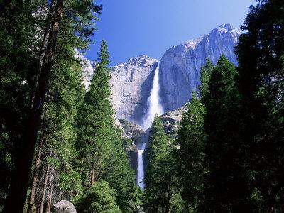 Upper and Lower Yosemite Falls, Swollen by Summer Snowmelt, Yosemite National Park, California