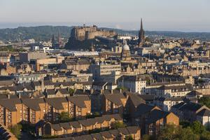 View from Holyrood Park over City Rooftops to Edinburgh Castle, City of Edinburgh, Scotland by Ruth Tomlinson