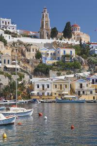 View over Harbour to Colourful Houses and Church, Dodecanese Islands by Ruth Tomlinson