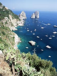 View Over Southern Coast to the Faraglioni Rocks, Island of Capri, Campania, Italy, Mediterranean by Ruth Tomlinson