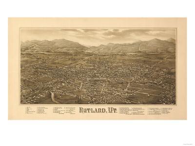 Rutland, Vermont - Panoramic Map-Lantern Press-Art Print