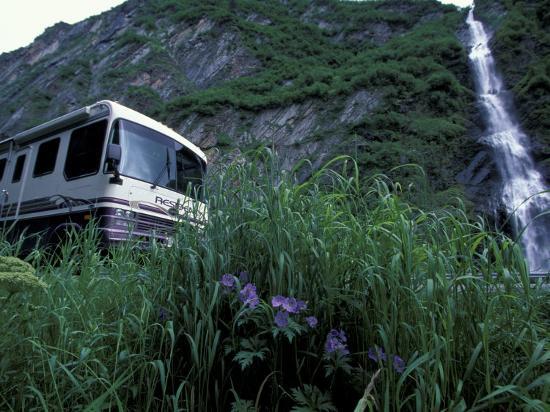 RV and Bridal Veil Falls in Keystone Canyon, Valdez, Alaska, USA-Paul Souders-Photographic Print
