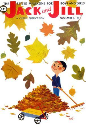 Raking Leaves - Jack and Jill, November 1957