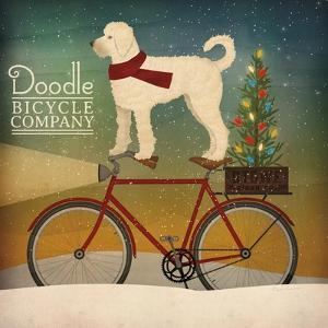 White Doodle on Bike Christmas by Ryan Fowler