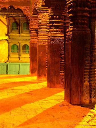 Carved Columns of the Jagannarayan Temple in Patan Illuminated at Night, Patan, Nepal