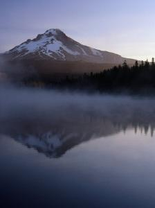 Early Morning Mist Over Mt. Hood Reflected in Trillium Lake, Mt. Hood, USA by Ryan Fox