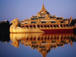 Floating Royal Barge, Karaweik, on Lake Kandawgyi, Mandalay, Myanmar (Burma) by Ryan Fox