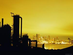 Ruins of Seattle Gas Light Company at Gasworks Park with Downtown and Lake Union in Background by Ryan Fox