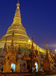 Schwedagon Pagoda Illuminated at Night, Yangon, Myanmar (Burma) by Ryan Fox