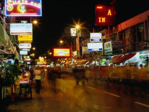 Street at Night, Thanon Khao San, Bangkok, Thailand by Ryan Fox