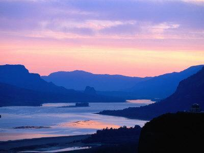 Sunrise Over Columbia River Gorge and Vista House Monument, Columbia River Gorge, USA