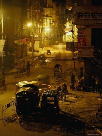 Tuk Tuks Parked on Durbar Square at Night