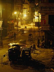 Tuk Tuks Parked on Durbar Square at Night by Ryan Fox