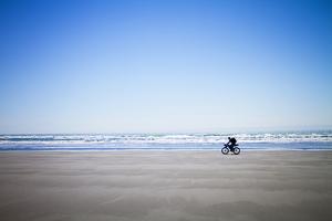 A Man Fatbiking On A Remote Beach Near Yakutat, Alaska by Ryan Krueger