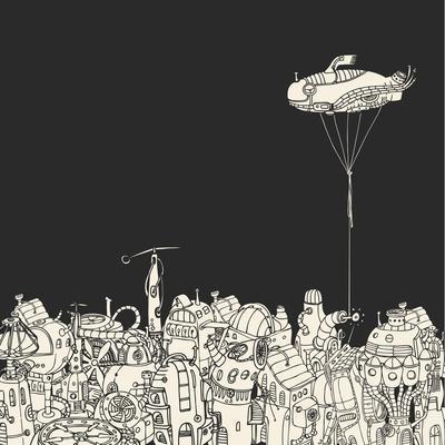 Cartoon City with Fish Eye Zeppelin