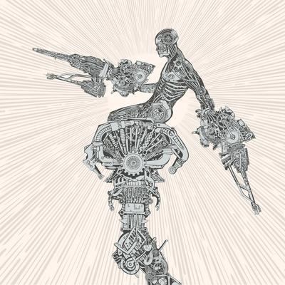 Comic-Book Style Cyborg Hero.
