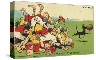 Postcard Cartoon of Rugby Match