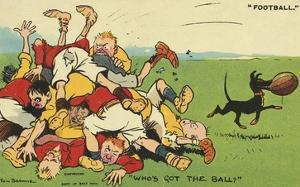 Postcard Cartoon of Rugby Match by Rykoff Collection