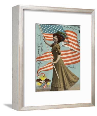 Postcard of Woman Waving American Flag