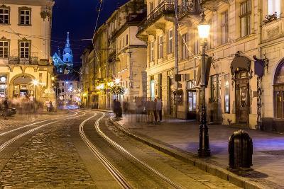 Rynok Square in Lviv at Night-bloodua-Photographic Print