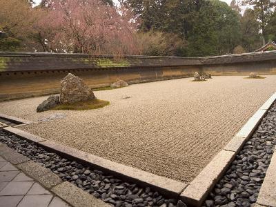 Ryoanji Temple, Dry Stone Garden and Blossom, Kyoto City, Honshu Island, Japan-Christian Kober-Photographic Print