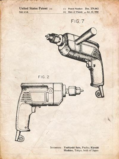 Ryobi Electric Drill Patent-Cole Borders-Art Print