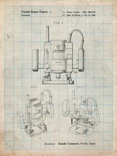 Ryobi Portable Router Patent-Cole Borders-Art Print