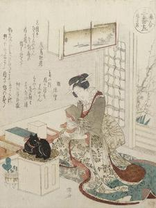 A Girl with Two Cats by Ryuryukyo Shinsai