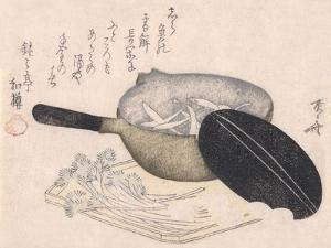 Still Life of Cut Vegetables and a Pot Containing Icefish by Ryuryukyo Shinsai
