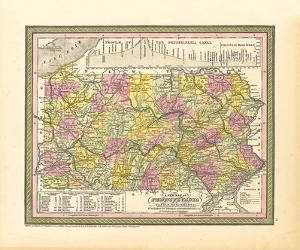 A New Map of Pennsylvania, 1850 by S.A. Mitchell
