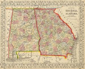 County Map of Georgia and Alabama, 1868 by S.A. Mitchell