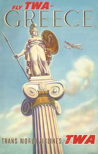 Greece - Fly TWA (Trans World Airlines) - Athena, Goddess of War by S^ Almaliction