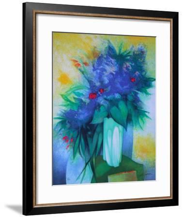 S - Bouquet Bleu-Claude Gaveau-Framed Limited Edition