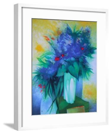 S - Bouquet Bleu-Claude Gaveau-Framed Limited Edition