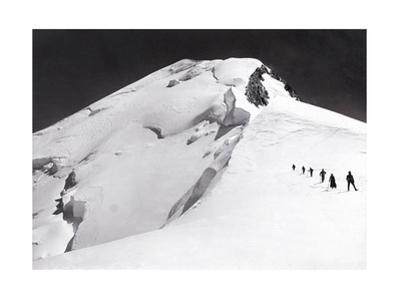 Mont Blanc, French Alps, France. Climbers Walk Down from Mont Blanc's Summit in Single File