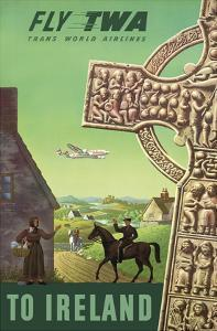 To Ireland - Celtic Cross - Trans World Airlines Fly TWA by S. Greco