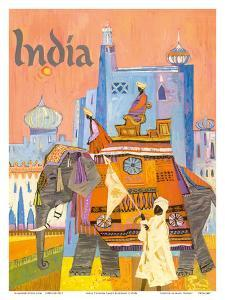 India - Regal Elephant with a Brightly Colored Howdah (Carriage) by S. Hall