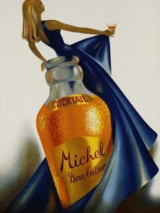 Cocktail Michel Doux Baiser Advertising Poster by S. Henchoz