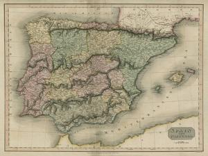 Vintage Map of Spain & Portugal by S.I. Neele