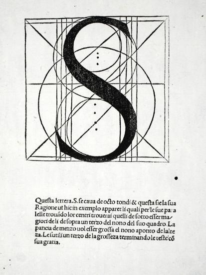 S, Illustration from 'Divina Proportione' by Luca Pacioli (C.1445-1517), Originally Pub. Venice,…-Leonardo da Vinci-Giclee Print