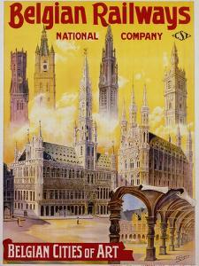 Belgian Railways - Belgian Cities of Art Poster by S. Rader
