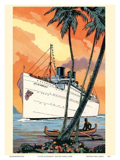 S.S. City of Honolulu - Boat Day Hawaii - Los Angeles Steamship Company-Pacifica Island Art-Art Print