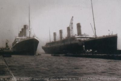 S.S. Olympic entering dock with S.S. Titanic alongside, 1912--Giclee Print